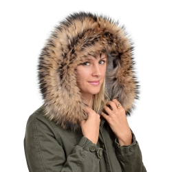 XXL Raccoon Fur Hood Trim Fur Collar Fur For Hood (84cm)