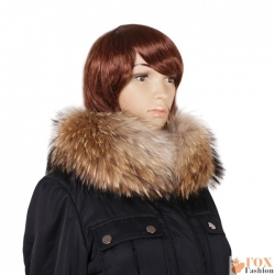 Genuine Raccoon Fur Stand-Up Collar Wrap Shawl
