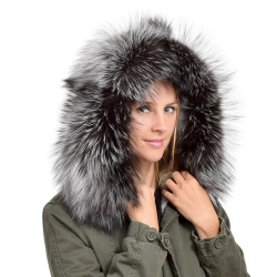 XXL Silver Fox Fur Hood Trim Fur Collar Fur For Hood (86cm)