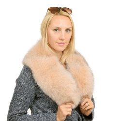 Genuine Beige Fox Fur Collar Wrap Shawl Stole