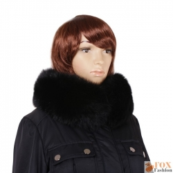 Genuine Black Fox Fur Stand-Up Collar Wrap Shawl