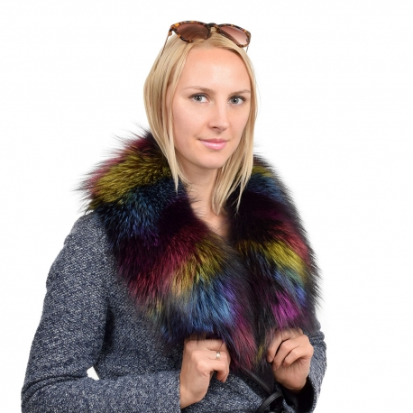Limited Edition - Dyed Multicolour Silver Fox Fur Collar Stole