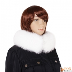 Genuine White Fox Fur Stand-Up Collar Wrap Shawl