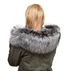 XXL Silver Fox Fur Hood Trim Fur Collar Fur For Hood