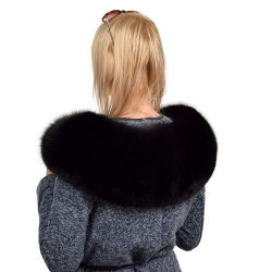 XXL Black Fox Fur Hood Trim Fur Collar Fur For Hood (80cm)
