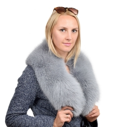 Limited Edition - Ashen Fox Fur Collar Grey Wrap
