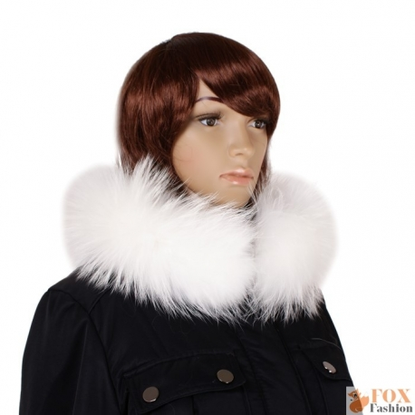 Genuine White Raccoon Fur Stand-Up Collar Wrap Shawl