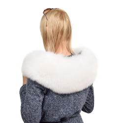 XXL White Fox Fur Hood Trim Collar Fur For Hood (80cm)