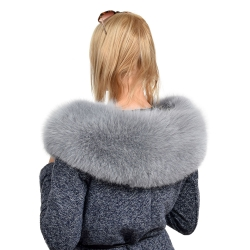 XXL Grey Fox Fur Hood Trim Collar Fur For Hood (80cm)