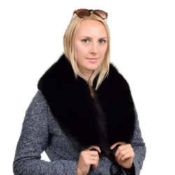Genuine Black Fox Fur Collar Wrap Shawl Stole