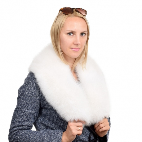 Genuine White Fox Fur Collar Wrap Shawl Stole