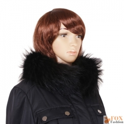 Genuine Black Raccoon Fur Stand-Up Collar Wrap Shawl