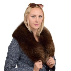 Genuine Brown Fox Fur Collar Wrap Shawl Stole