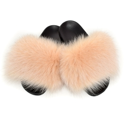Women's Fur Slides, Sandals with Beige Fox Fur