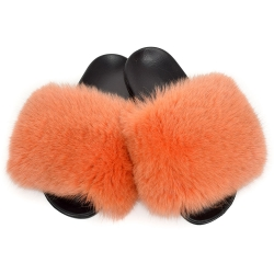 Women's Fur Slides, Sandals with Orange Fox Fur