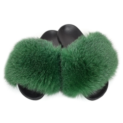 Women's Fur Slides, Sandals with Green Fox Fur II
