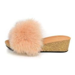 Women's Cork Wedge Slides with Beige Fox Fur