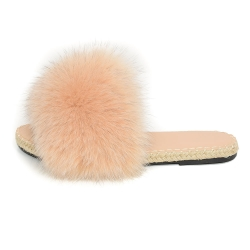 Stylish Braided Sole Slides with Beige Fox Fur