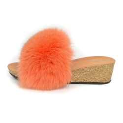 Women's Cork Wedge Slides with Orange Fox Fur