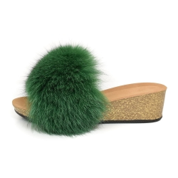Women's Cork Wedge Slides with Green Fox Fur