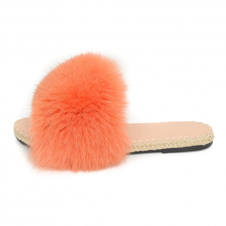 Stylish Braided Sole Slides with Orange Fox Fur