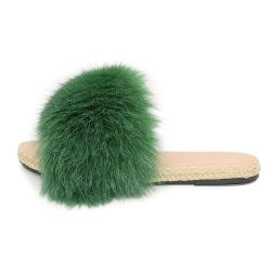 Stylish Braided Sole Slides with Green Fox Fur