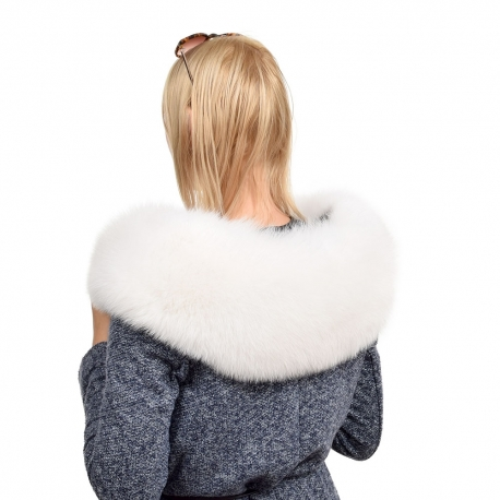 XXL White Fox Fur Hood Trim Collar Fur For Hood (100cm)