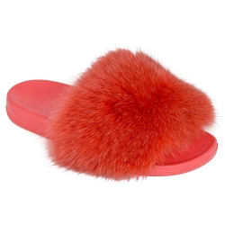 Women's Fur Slides, Sandals with Red Fox Fur