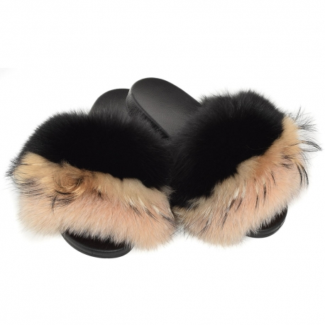 Women's Fur Slides, Sandals with Black & Beige Fur
