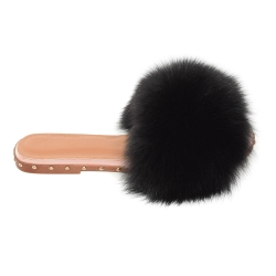 Women's Slides with Black Fox Fur and Studs