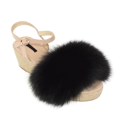 Women's Wedge Sandals with Black Fox Fur