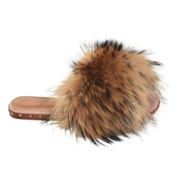 Women's Slides with Raccoon Fur and Studs