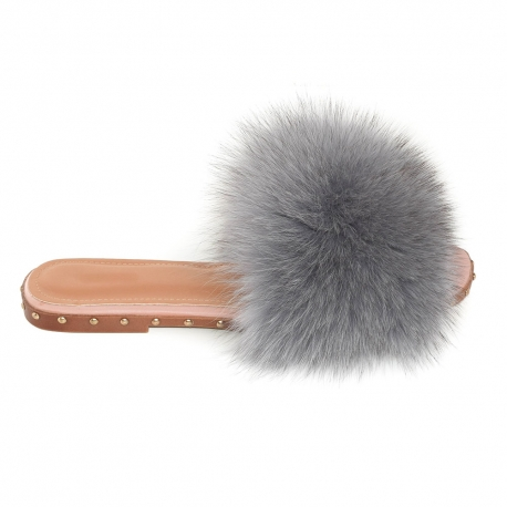 Women's Slides with Grey Fox Fur and Studs