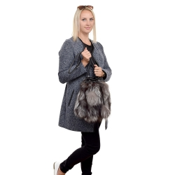 Silver Fox Fur Bucket Bag / Grey Fur Shoulder Bag