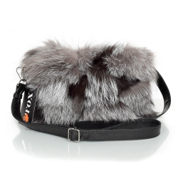 Silver Fox Fur Crossbody Bag with Zipper Closure