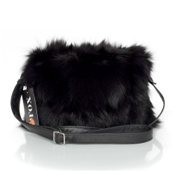 Black Fox Fur Crossbody Bag with Zipper Closure