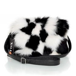 Black-White Fur Crossbody Bag with Zipper Closure