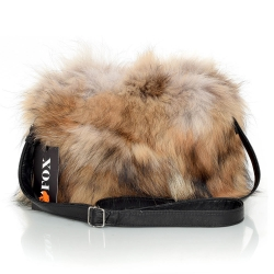 Raccoon Fur Crossbody Bag with Zipper Closure