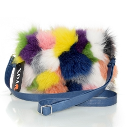 Multicolour Fox Fur Crossbody Bag with Zipper Closure