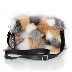 Fox Fur Crossbody Bag with Zipper Closure