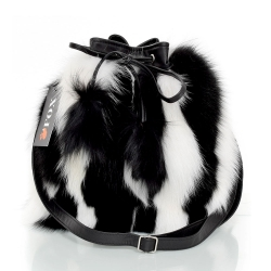 Black-White Fox Fur Bucket Bag / Fur Shoulder Bag