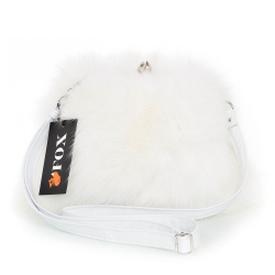 White Fox Fur Purse / White Fur Shoulder Bag