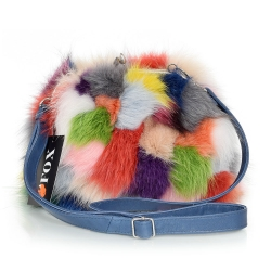 Multicolour Fox Fur Purse / Fox Fur Shoulder Bag