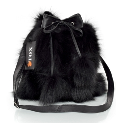 Black Fox Fur Bucket Bag / Black Fur Shoulder Bag