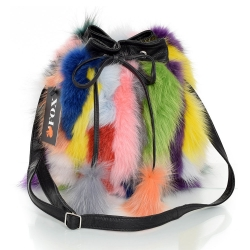 Multicolour Fox Fur Bucket Bag / Fur Shoulder Bag