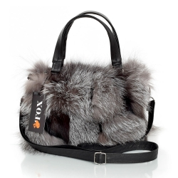 Genuine Silver Fox Fur Handbag / Grey Fur Purse