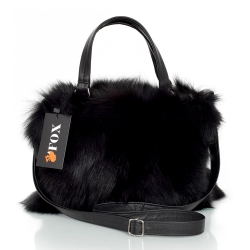 Genuine Black Fox Fur Handbag / Black Fur Purse