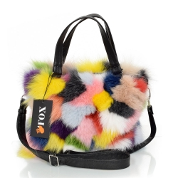 Multicolour Fox Fur Handbag / Fox Fur Purse