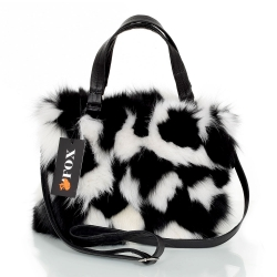 Black & White Fox Fur Handbag / Black-White Purse