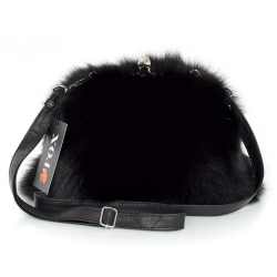 Black Fox Fur Purse / Black Fox Fur Shoulder Bag